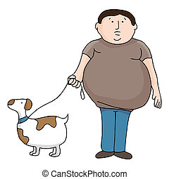 Overweight Man and Dog - An image of an overweight man and...