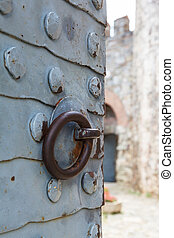 forged plate on the gate Rumeli Fortress closeup