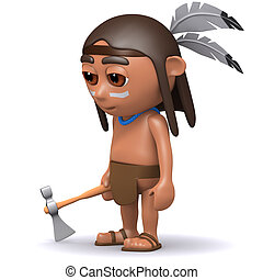 3d Native American Indian with axe - 3d render of a Native...