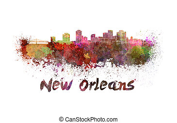 New Orleans skyline in watercolor splatters with clipping...