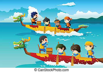 Kids in a boat race - A vector illustration of happy kids in...