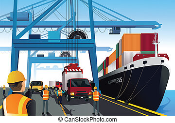 Shipping port scene - A vector illustration of shipping port...