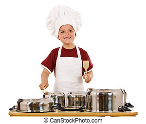 Feel the beat of culinary art - boy with wooden spoons...