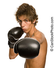 boxer - young man with boxing gloves, isolated on white