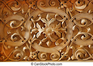 Wood carved ornament on the wall of Christian church