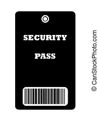 Security Pass - Black security pass with bar code, isolated...