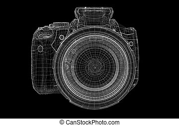Black digital camera isolated - Black digital camera 3D...
