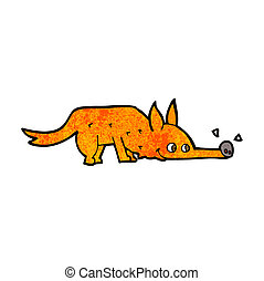 cartoon fox sniffing floor