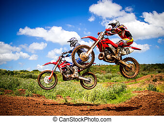 Motocross riders in a championship