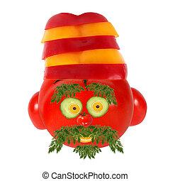 ENGRAÇADO, feito, saudável, legumes, rosto, frutas, comer