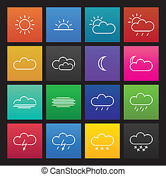 Colored simple weather icons, flat design, vector...