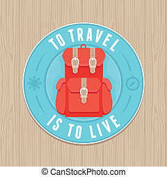 Vector vintage badge - flat icon. Travel concept - VEctor...