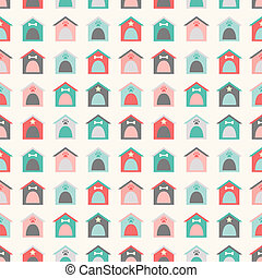 Animal seamless vector pattern of kennel. Endless texture...