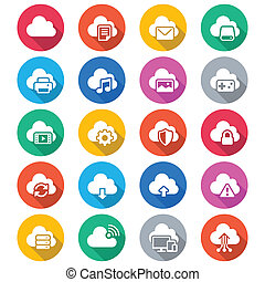 Cloud computing flat color icons - Simple vector icons Clear...