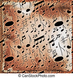 musical notes old grunge