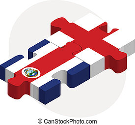England and Costa Rica Flags in puzzle