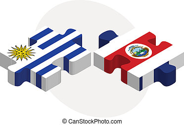 Uruguay and Costa Rica Flags in puzzle