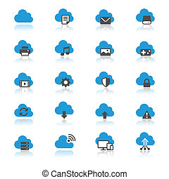 Cloud computing flat with reflection icons - Simple vector...