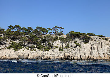 The famous Calanques of Cassis, near Marseille, in Bouches...