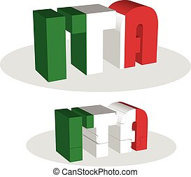 Italy Flag in puzzle - Vector illustration of Italy Flag in...
