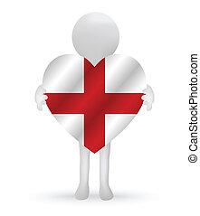 3d man holding a England flag