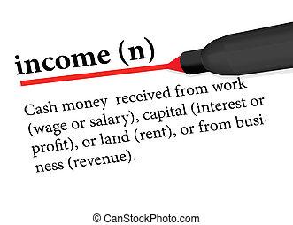 辞書, 用語, 収入, 隔離された, 白, 背景