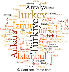cities of Turkey in word clouds - illustration of the cities...