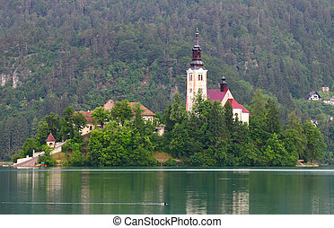 Bled lake - Catholic church situated on an island on Bled...