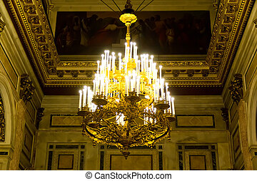 Chandelier in Russian orthodoxy cathedral temple - Photo of...