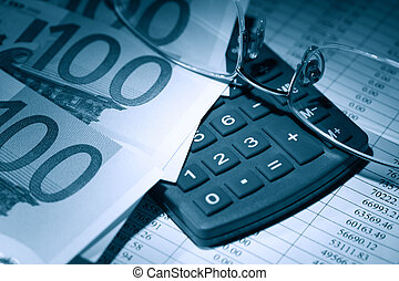Bookkeeping Concept - Spectacles and pen near European Union...