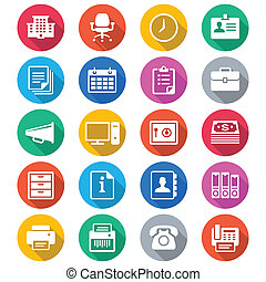 Office supplies flat color icons - Simple vector icons....