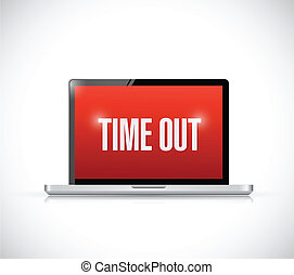 time out computer message illustration design over a white...