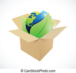 globe and leaves inside a brown box.