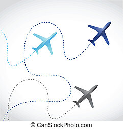 mosca, rutas, aviones, diseño, Ilustración