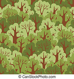 Seamless pattern with green deciduous forest Vector...