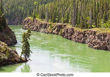 Yukon River water Miles Canyon Whitehorse Canada - Miles...