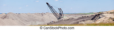 Coalmine excavator moonscape tailings panorama - Coal mine...