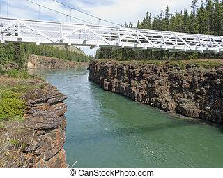 White suspension bridge across Miles Canyon Yukon - Miles...