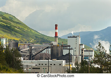 Coal mine electrical power plant contrast nature
