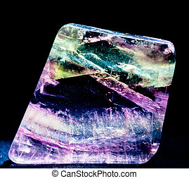 transparente, fluorspar, calcio, fluorita, cristal, gema