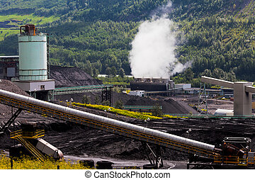 Coal mine electric power plant contrasts nature
