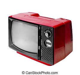 Red vintage analog television isolated with clipping path. -...