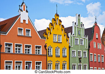 Germany, Renaissance facades - Typical houses in Landshut in...
