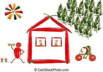 pimenta, feito, legumes, saudável, casa, comer, de, pimentão