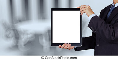 businessman success working with blank tablet computer his board