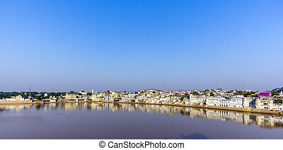 pushkar with lake view in early morning