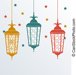 Intricate Arabic lamps for Ramadan Kareem