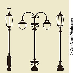 Set of vintage various forged lampposts - Illustration set...