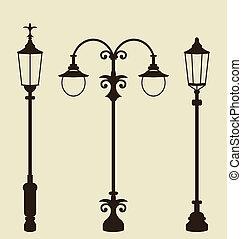 Set of vintage various forged lampposts - Illustration set...