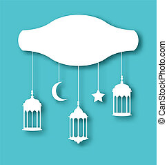 Eid Mubarak greeting card with decoration - Illustration Eid...